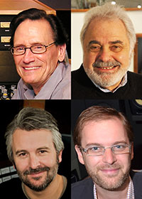 Pictured clockwise from top left are mastering engineers Bernie Grundman, Doug Sax, Stephen Marsh, and Gavin Lurssen.