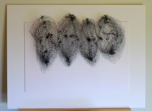 "Keiko Kasai  ""Shadow Tremor 6""  2014  40"" x 30"" Black Fabric, Sumi Ink on Paper"