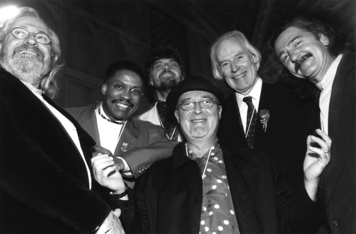 Pictured (L-R) are Phil Ramone, Herbie Hancock, Alan Parsons, Mr. Bonzai. George Martin, and Father Guido Sarducci. Photo by Eric Slomanson.